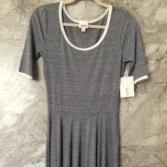 LuLaRoe Dresses & Skirts - LULAROE S Nicole Gray Dress White Accents Midi